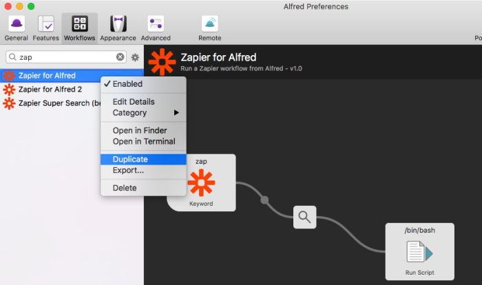 Duplicate Zapier for Alfred