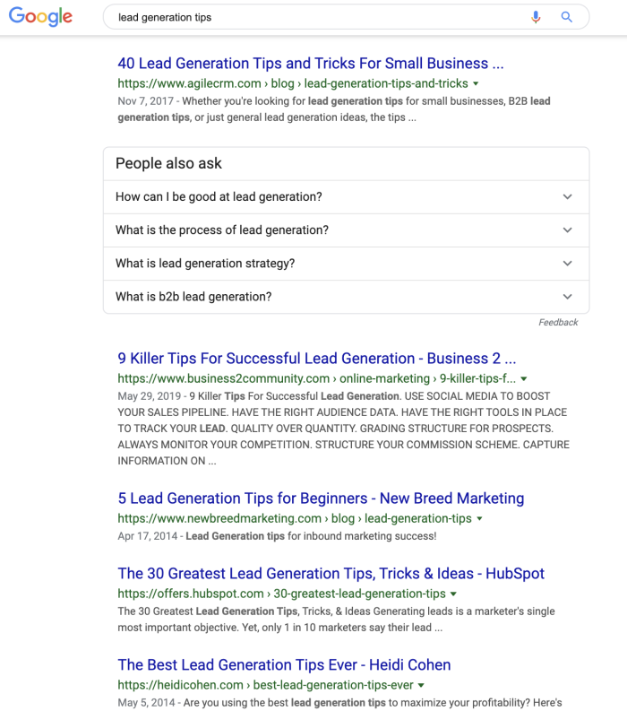 Google search results for lead generaton tips