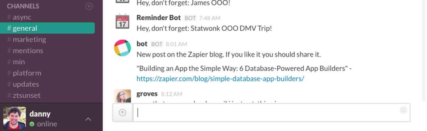 Slack blog comment notification