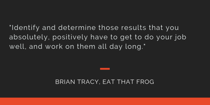 Eat That Frog principle 7: Identify and determine those results that you absolutely, positively have to get to do your job well, and work on them all day long