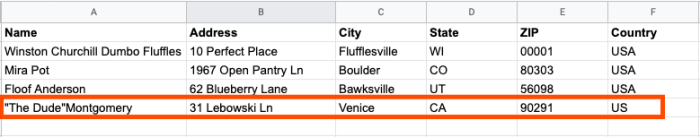 A screenshot of a spreadsheet showing an address line added for the same information that we saw in our test.