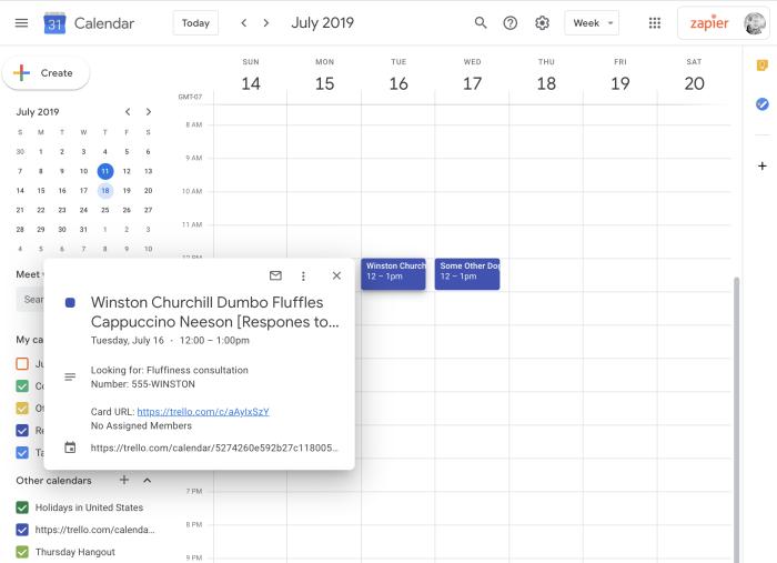 Trello cards showing up in Google Calendar