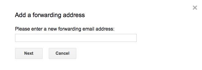 Enter forwarding address