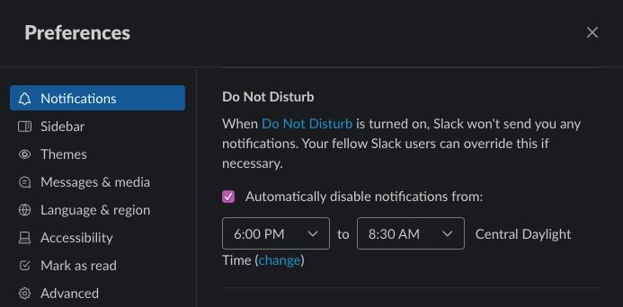 A screenshot of Slack