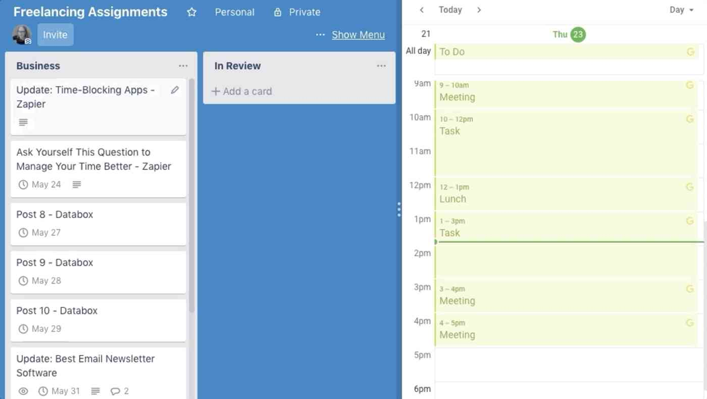 time blocking in Trello with Planyway