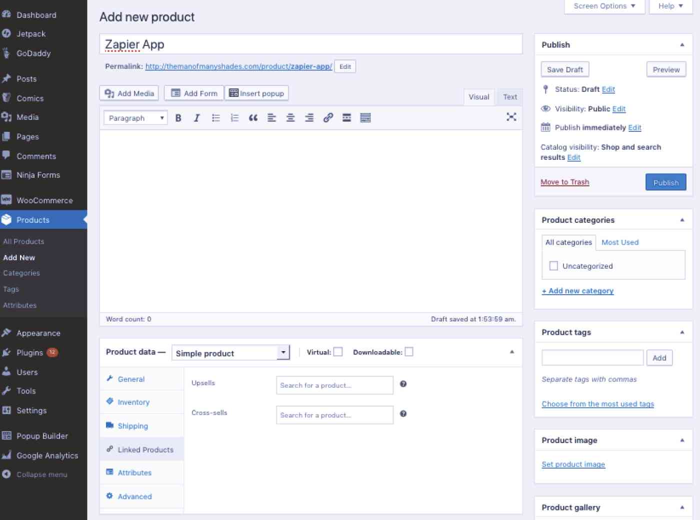 Screenshot of WooCommerce Product Page template
