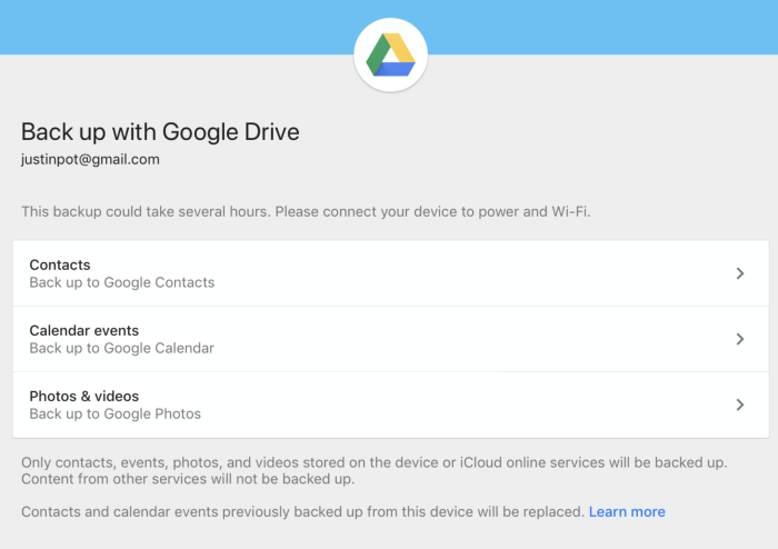 Back up iPhone or iPad contacts to Google