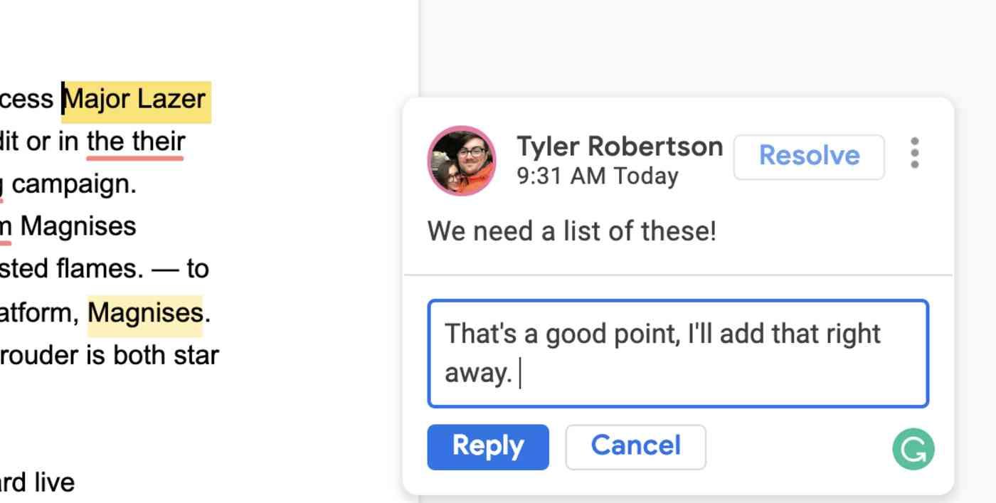 Google Docs conversation