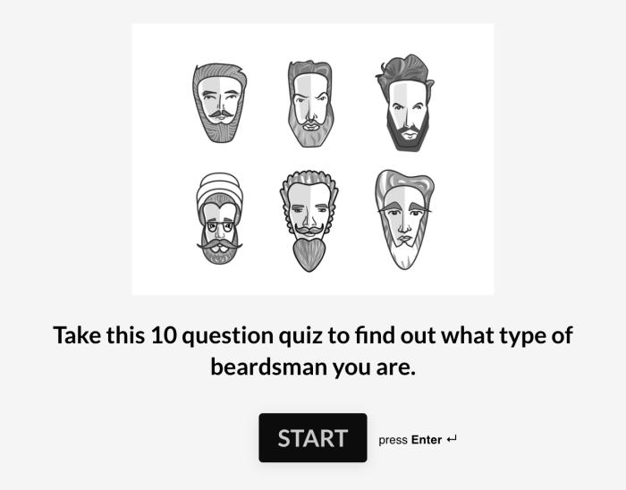 A Typeform quiz from Beardbrand