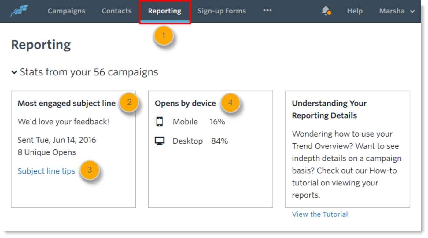 Reporting tab