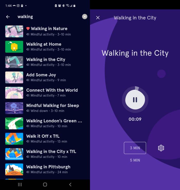 Screenshots of a meditation app