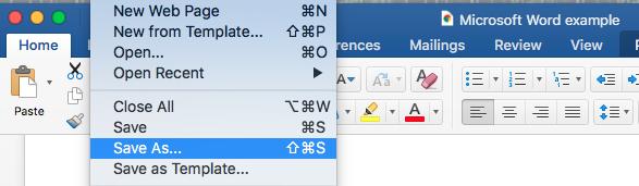 Archivo de Microsoft Word guardar como