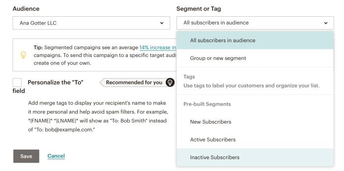 Inactive subscribers segment in Mailchimp
