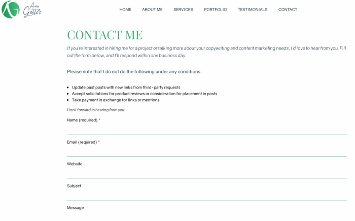 A screenshot of the contact form on Ana's website