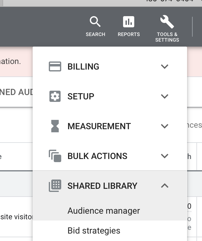 """A screenshot of Google Ads' menu system, showing the """"provided library"""" and """"audience manager"""" portions highlighted."""