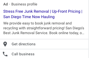 Time Now Hauling Google ad