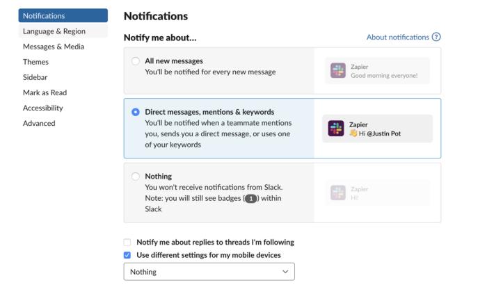 Notification settings in Slack