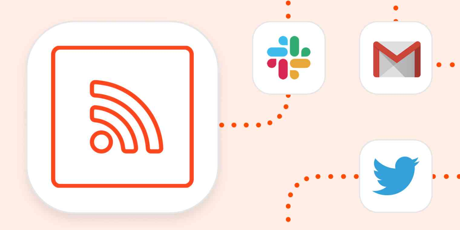 RSS logo connected to the logos for Slack, Gmail, and Twitter