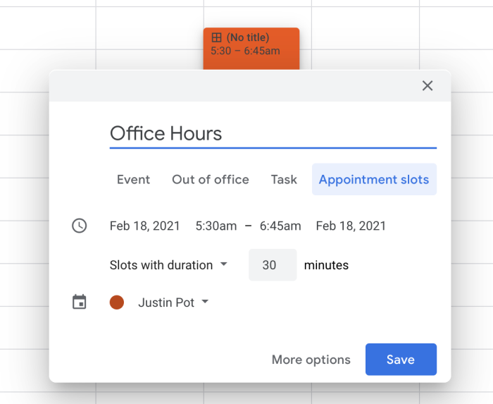 Appointment slot in Google Calendar