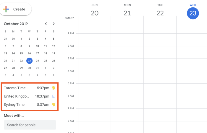 World Clock in Google Calendar