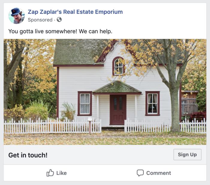 Facebook Lead Ad example