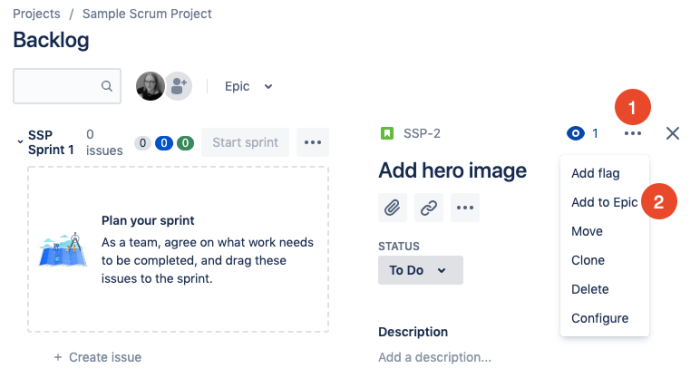 add issue to epic in Jira