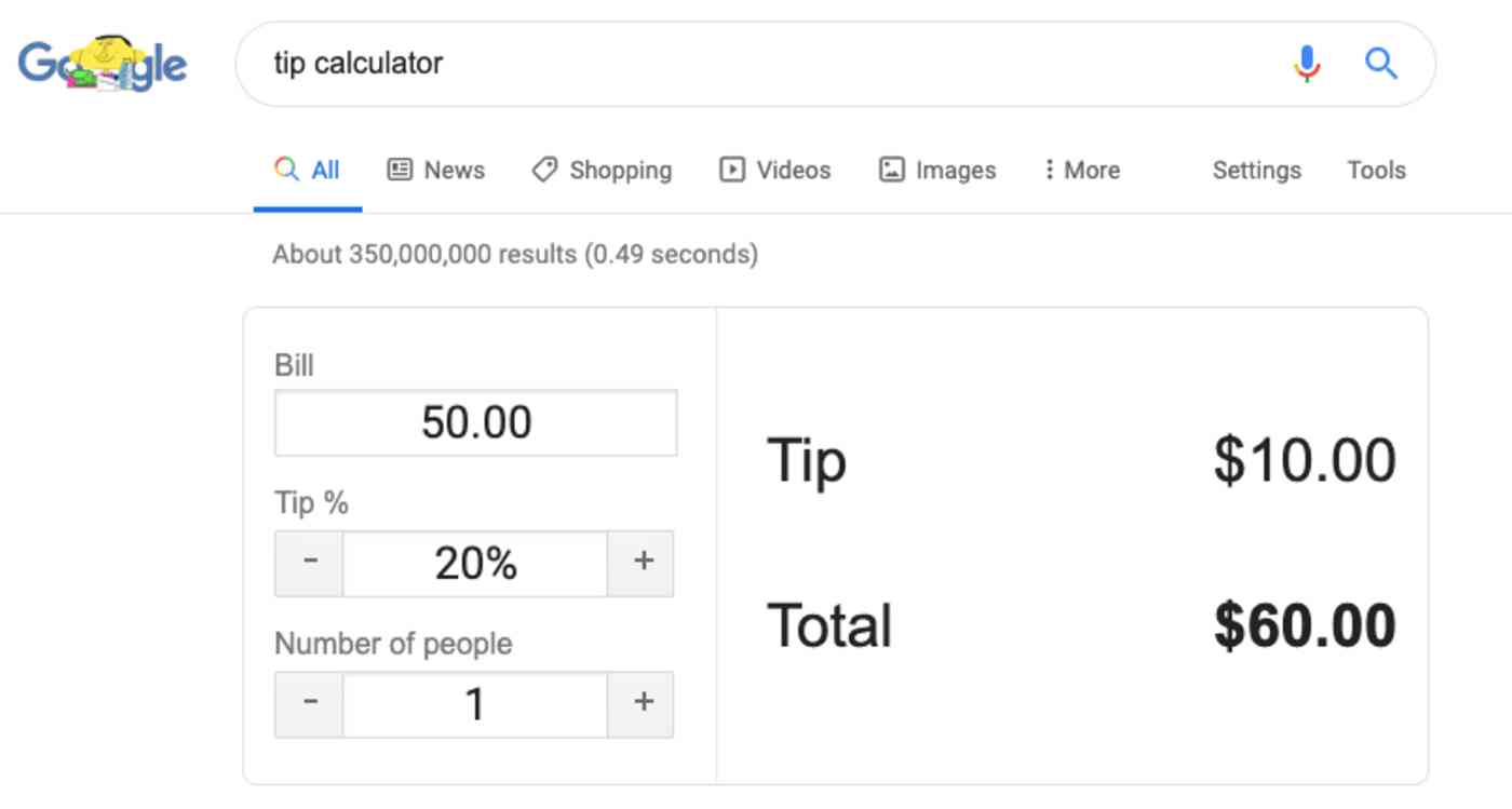 Google Search results calculator