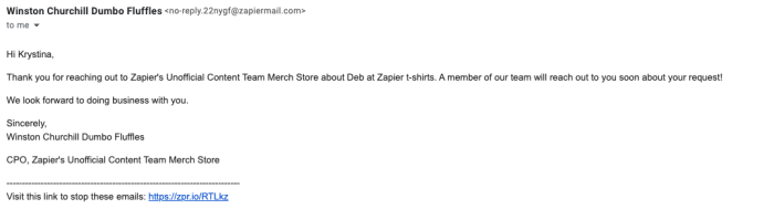 An automated email sent from Email by Zapier, as it appears in Gmail.