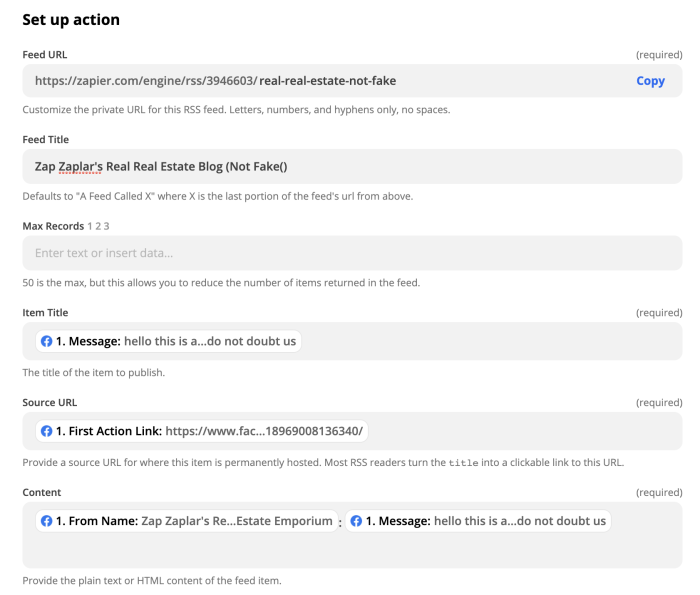 Add details to Facebook RSS feed