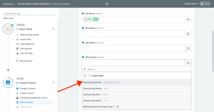 Use webhooks in action app in Zapier