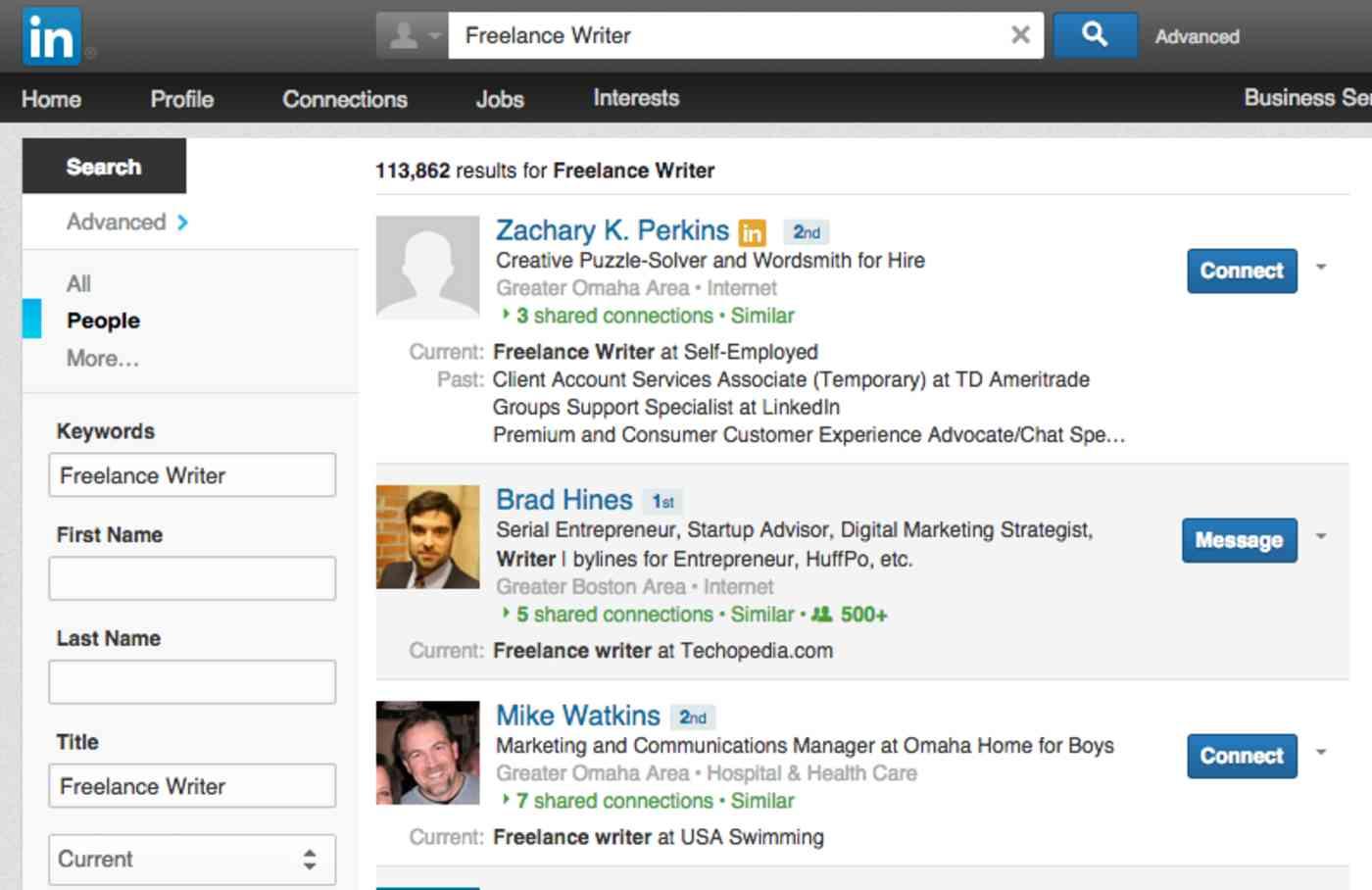 LinkedIn freelance writer search
