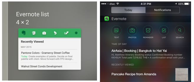 Evernote Android and iOS widgets