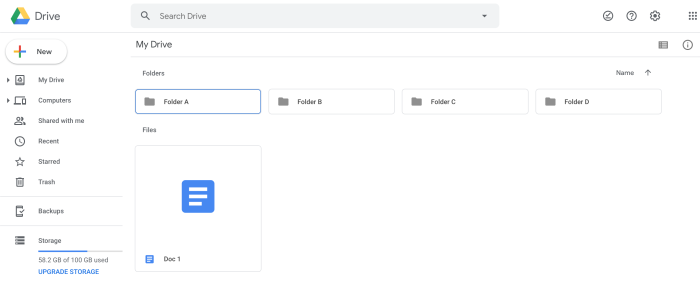 Google Drive web browser view