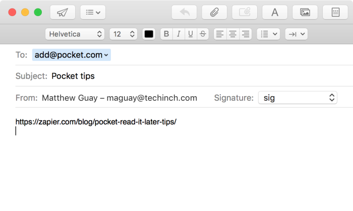 Add articles to Pocket with an email