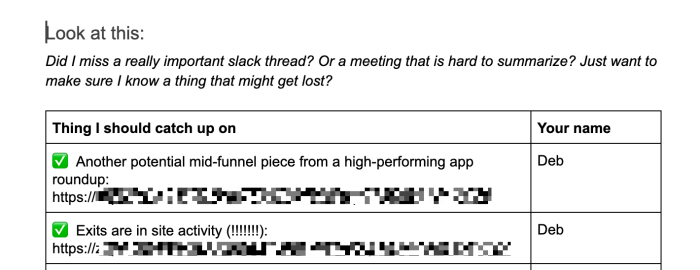 An OOO doc in a Google Doc with a list of things missed and who reported them