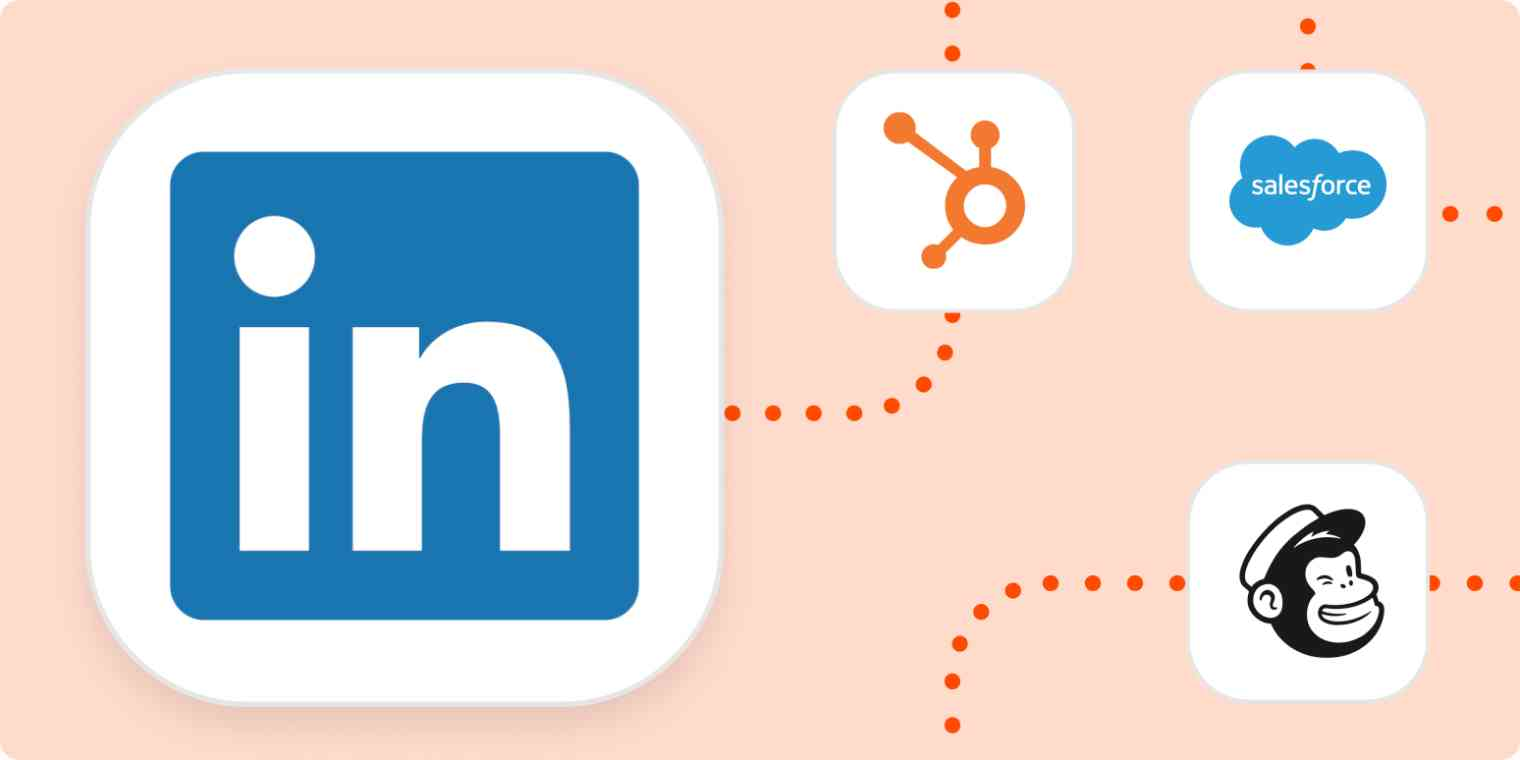 The logos for LInkedIn, HubSpot, Salesforce, and Mailchimp.