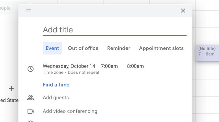 Video conferencing in Google Calendar without Meet