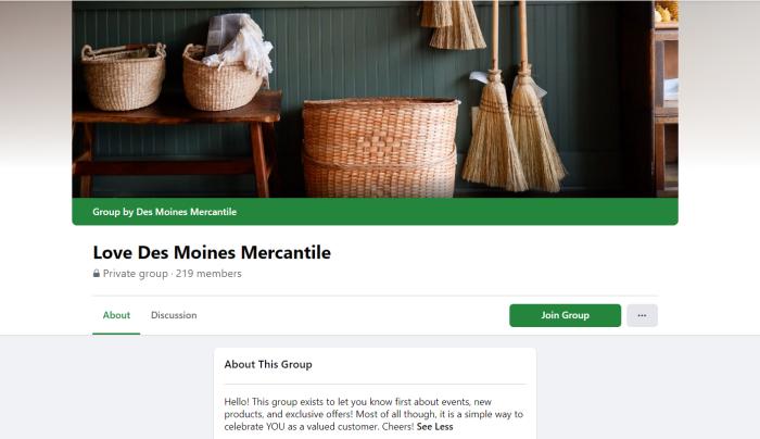 Des Moines Mercantile's Facebook Group