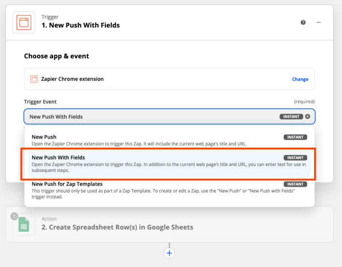 """Selecting the """"New Push with Fields"""" trigger event."""