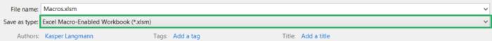 Save as macro enabled Excel file