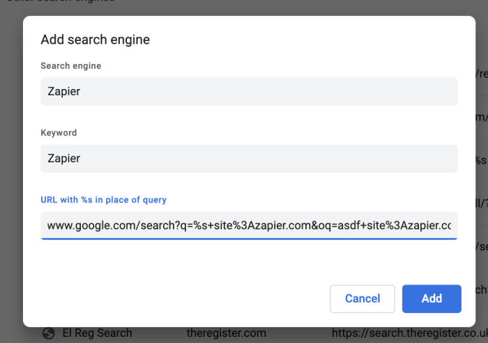 Adding any site specific search to Chrome