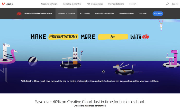 Adobe Creative Cloud student discount landing page