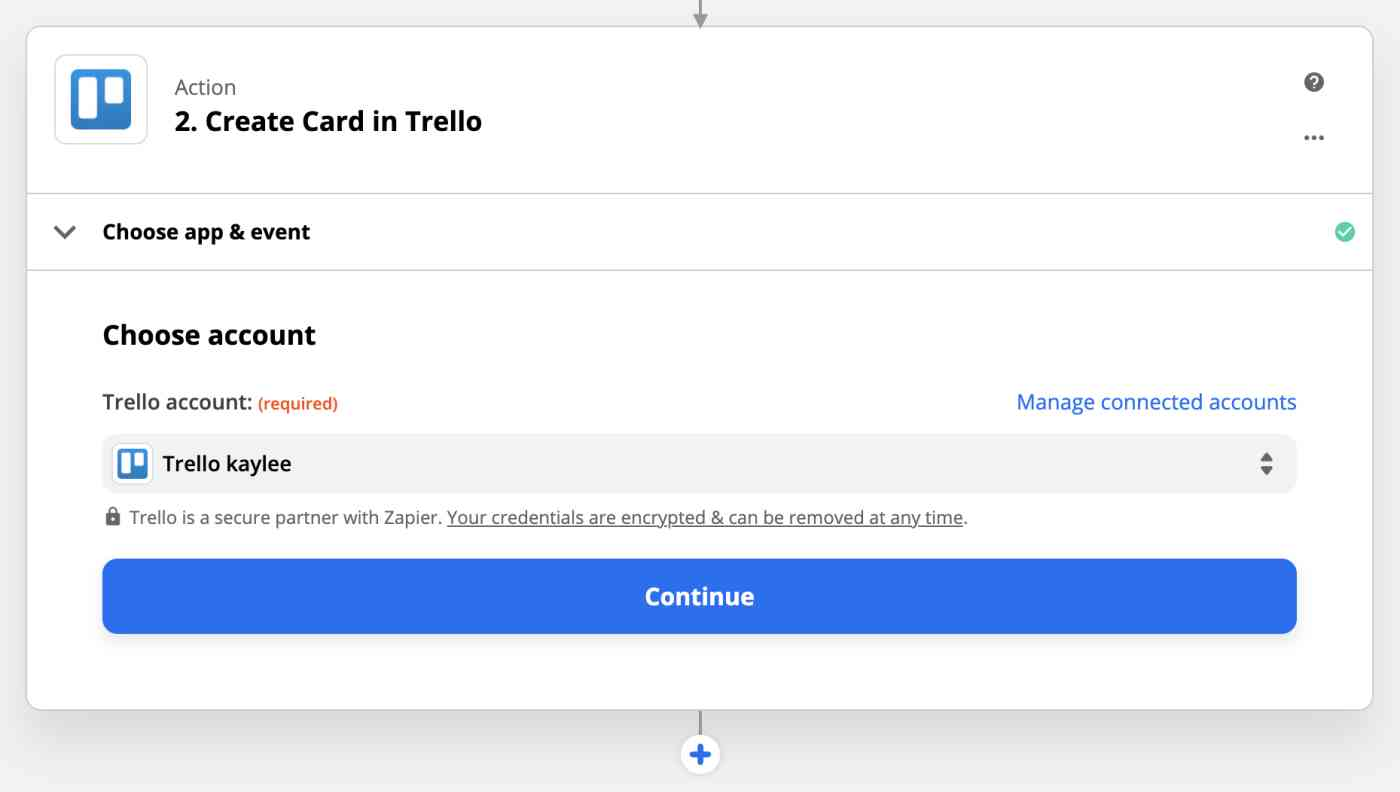 Action set-up: Create card in Trello: Choose account
