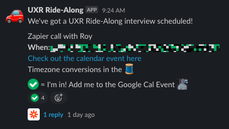 A Slack message announcing a new calendar event. The instructions in the message tells users to use the checkmark emoji to be added to the calendar invite.