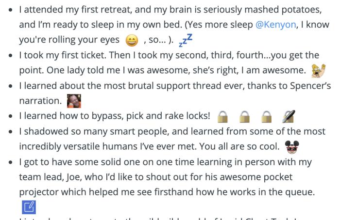 A screenshot of an enthusiastic internal blog post from Chels