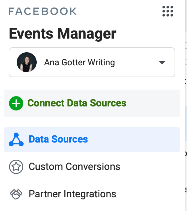 Option to connect data sources in Facebook Events Manager