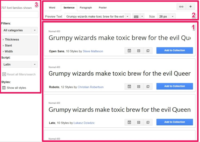 google fonts sections
