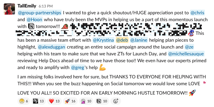 A Slack message from a partner manager
