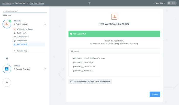 Test webhooks in Zapier