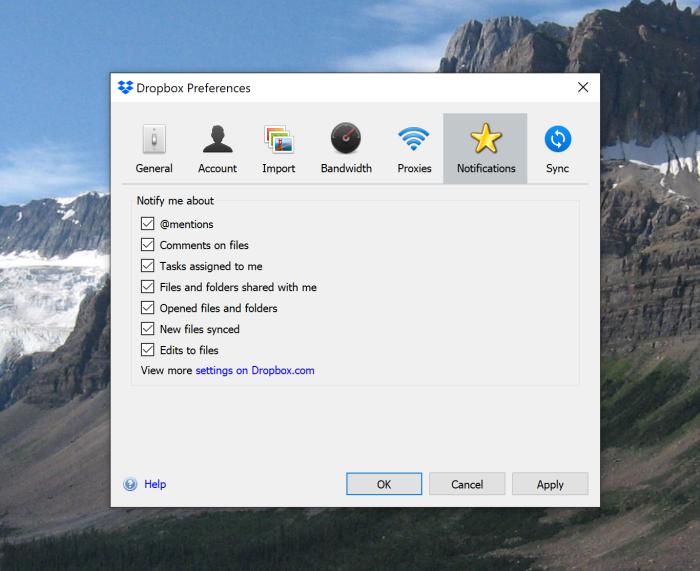 Dropbox notification settings